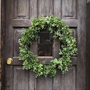 Faux Leaves Green Grapevine Wreath 19 inches